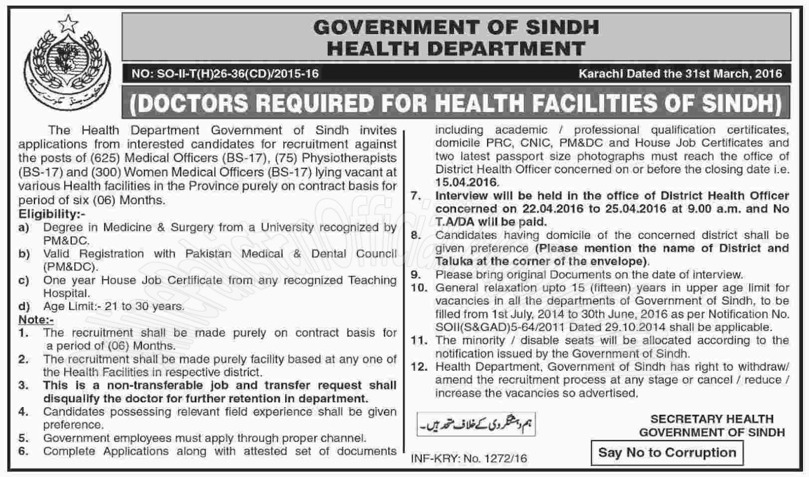 sindh health department jobs