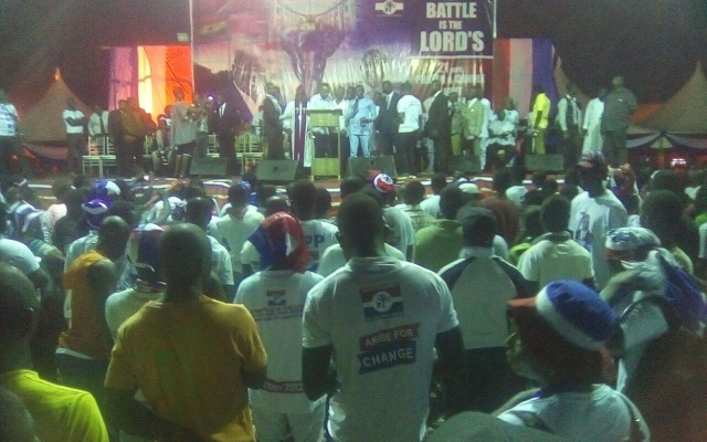 Rev. Owusu Bempah and New Patriotic Party members at vigil