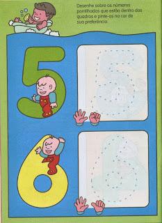 Desenhe sobre os números pontilhados