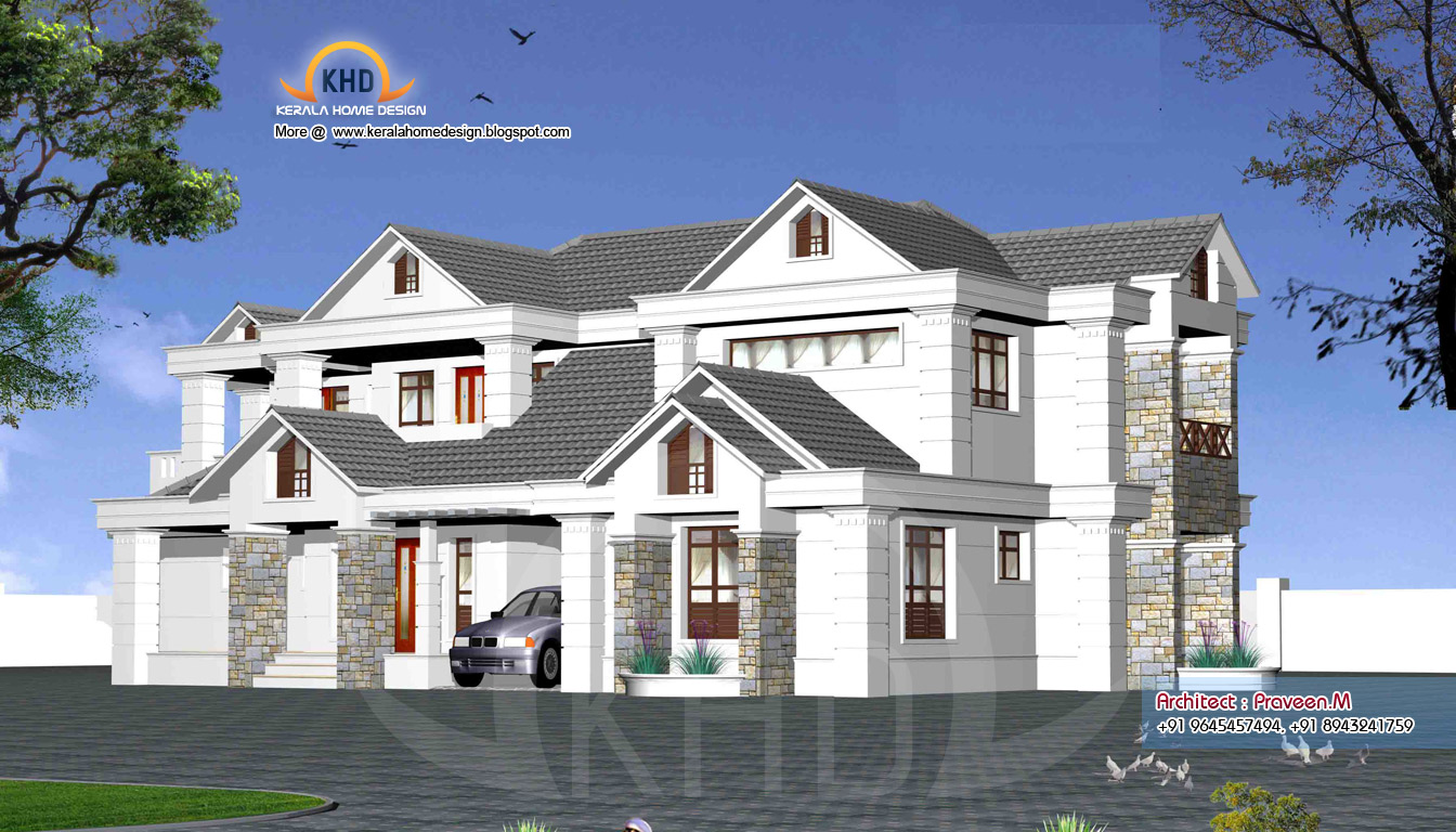 Rendering of home elevation exteriors - Kerala home design