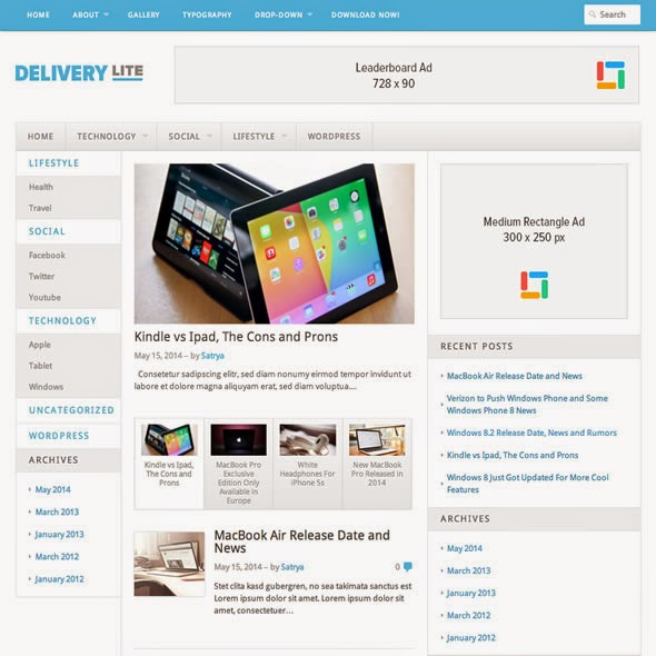 Delivery Lite - Tema WordPress Simple 3 Kolom Responsif