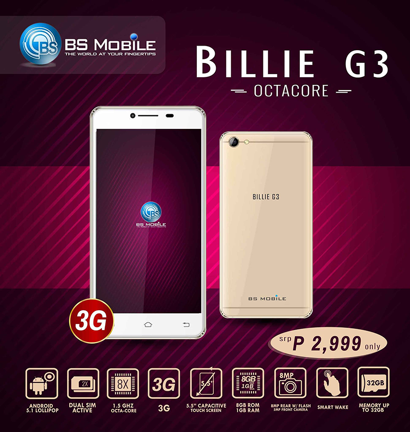 BS Mobile Billie G3 Is An Octa Core Smartphone Under PHP 3K!