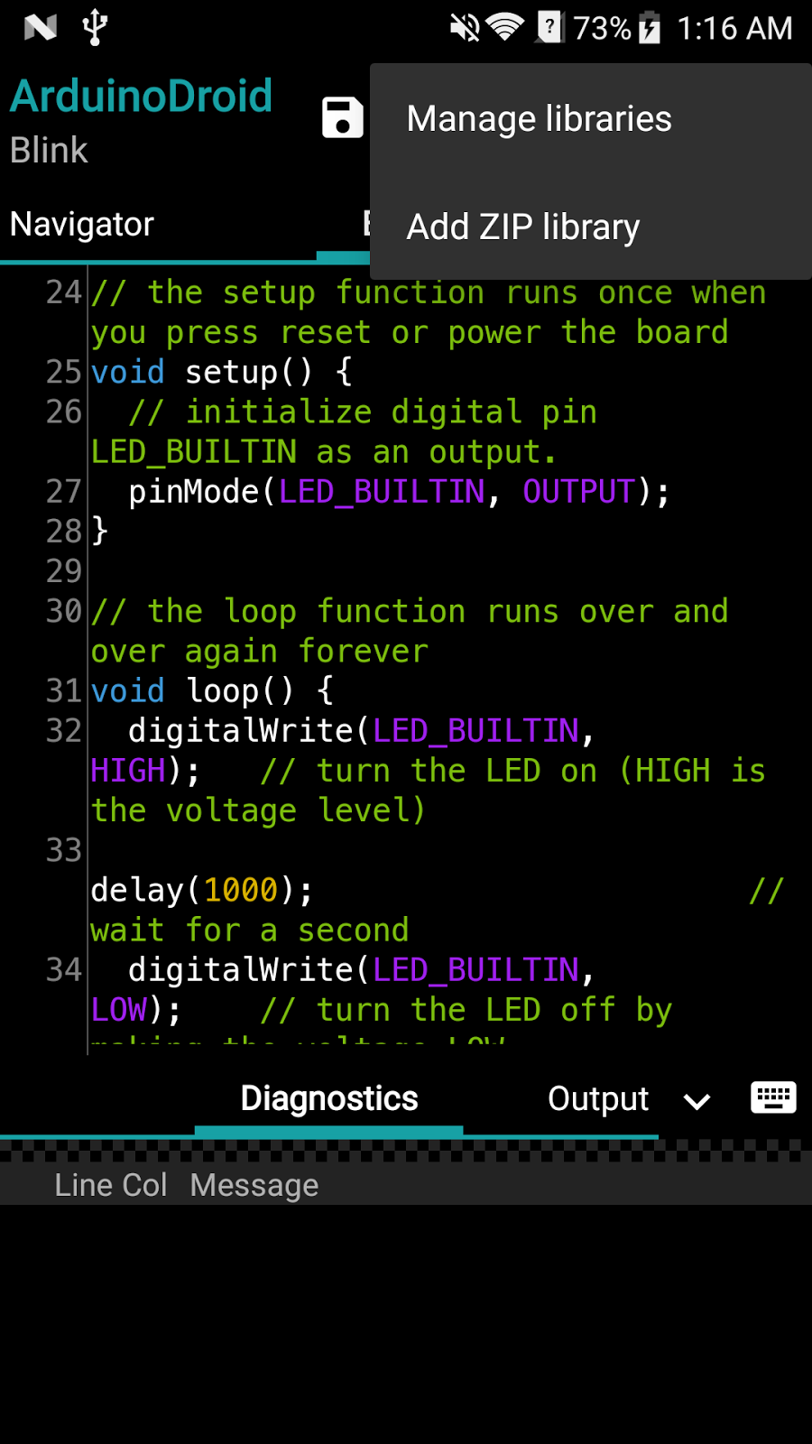 ArduinoDroid - Arduino IDE for Android: Library Manager