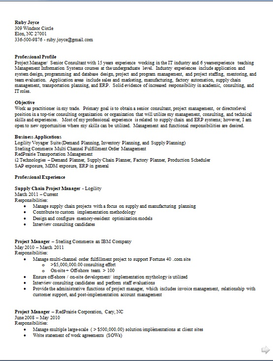 supply chain project manager sample resume format in word