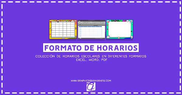 Formatos de horario de clases gratis 2019 para imprimir (Excel, Word, PDF)