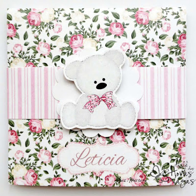 convite artesanal aniversário infantil floral provençal ursinho branco jardim rosa bebê