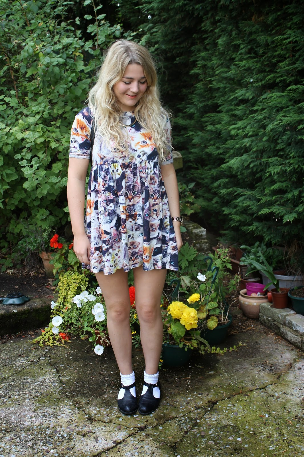 Asos Cat Print Smock Dress