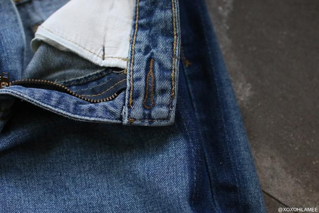 日本人ファッションブロガー,Mizuho K,NEWIN  from Rosegal- ブルーサイドライン切りっぱなしマムジーンズ