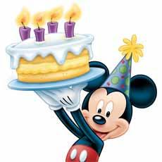 Mickey con tarta de cumpleaños