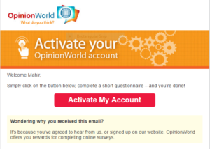 Opinion World Survey free gift voucher active account