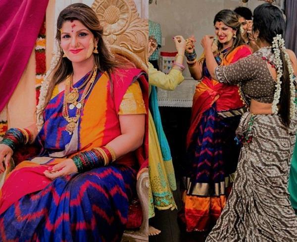 गोदभराई में गुलाबी साड़ी में दिखीं प्रेग्नेंट रंभा, नाचते हुए सामने आई खूबसूरत तस्वीरें