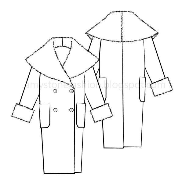 Amy Stone Fashion Flat Sketches: Oversized Shawl Collar Coat Fashion ...