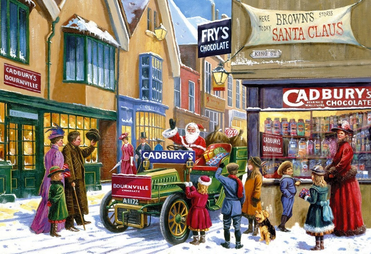 Classic Vintage Style Christmas Celebration Paintings For