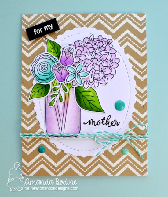 Flowers in Jar Card for Mother by Amanda Bodine | Lovely Blooms Stamp Set by Newton's Nook Designs #newtonsnook