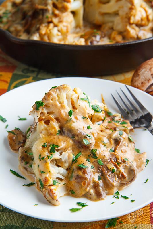 Roast Head of Cauliflower in Creamy Mushroom Sauce