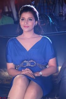 Mannara Chopra in Short Blue Dress at Rogue Movie Teaser Launch 1st March 2017 031.JPG