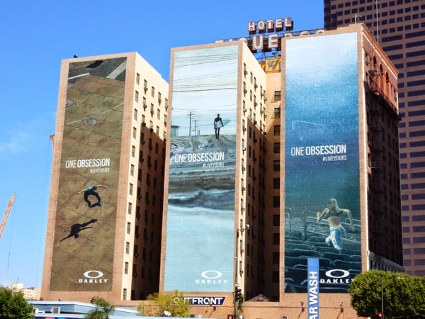 Giant Oakley One Obsession billboards Downtown L.A.
