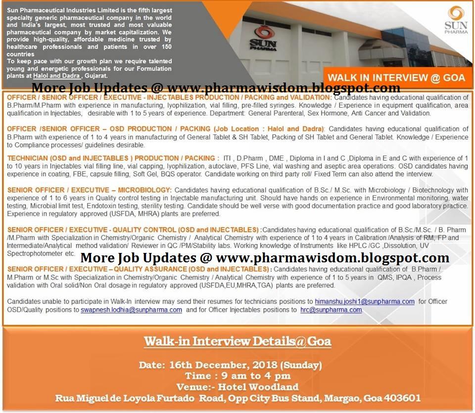 PHARMA WISDOM: SUN PHARMA LTD - Walk-In Interview for Multiple