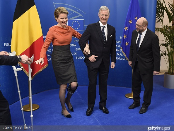 President of the European Parliament Martin Schulz welcomes King Philippe and Queen Mathilde of Belgium before a meeting at the EU Parliament in Brussels