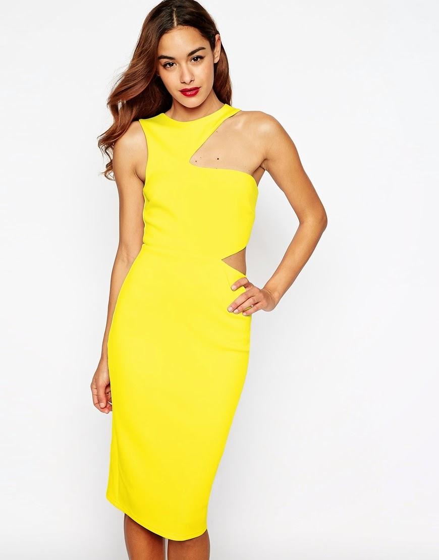 Asos Cut Out Asymmetric Body Concious Dress
