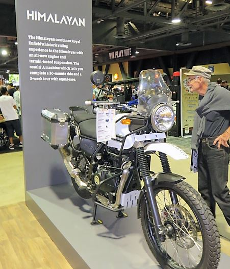 Royal Enfield adventure motorcycle on display.