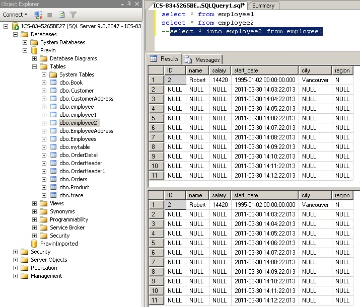 how to create a copy of a table in sql