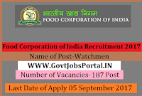 Food Corporation of India Recruitment 2017– 187 Watchmen