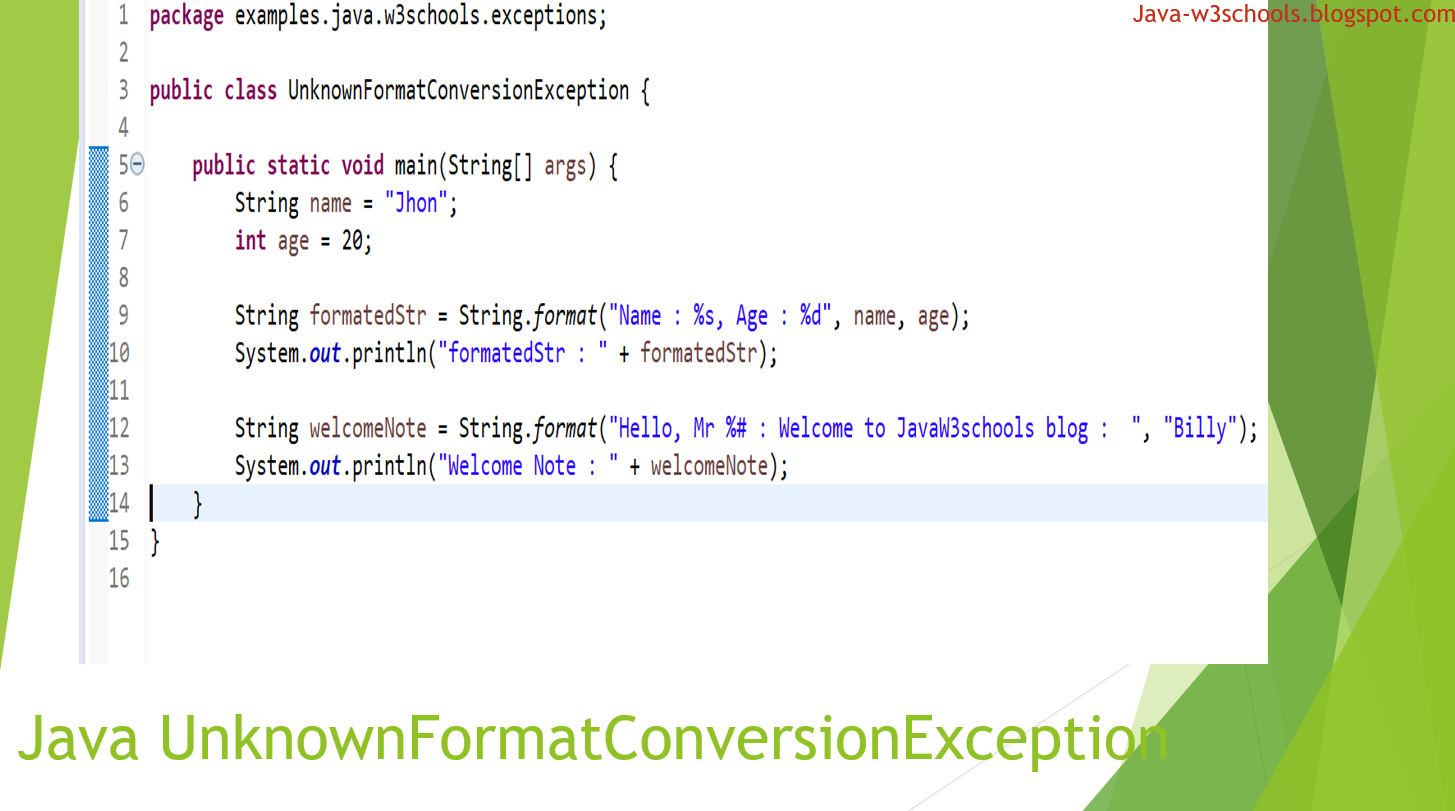 UnknownFormatConversionException