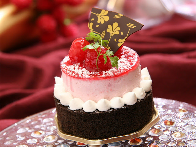 french cake with chocolate base and strawberry mousse topping