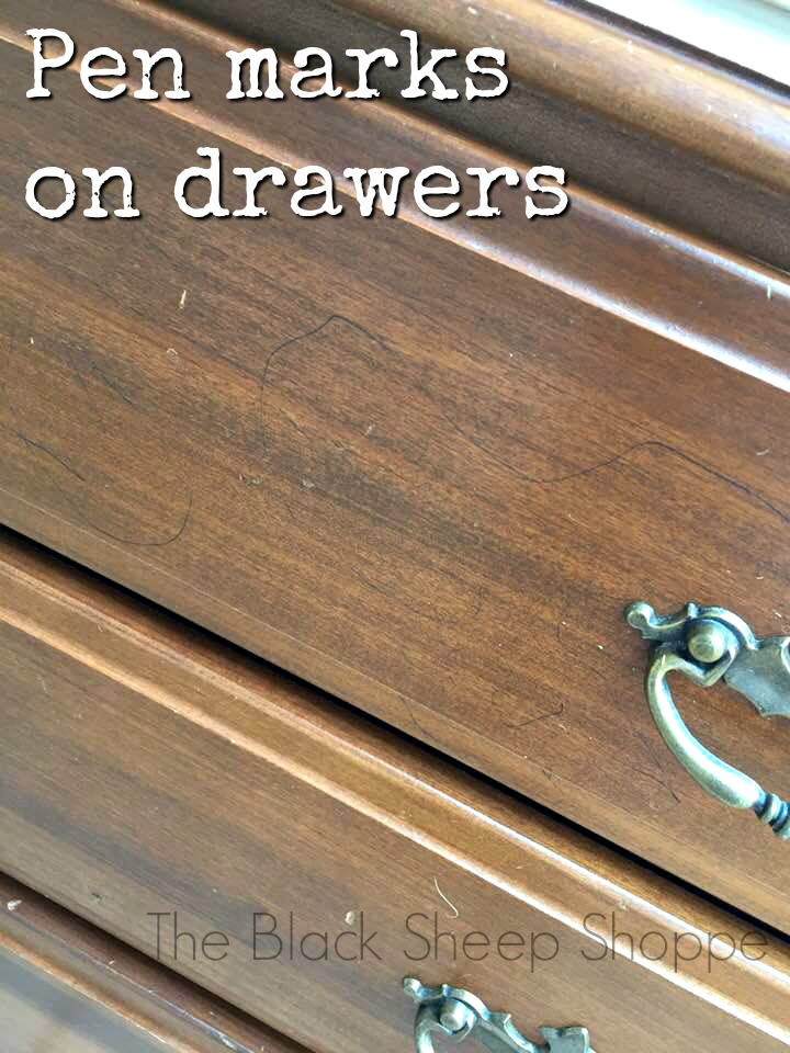Pen marks on drawer fronts were easily covered with Chalk Paint.