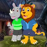 Lion And Rhinoceros Escape