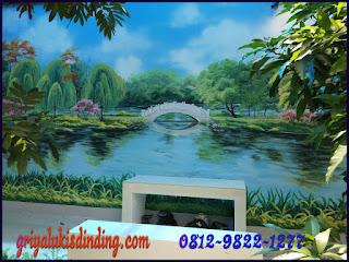 Mural lukis dinding tema gambar pemandangan dinding taman