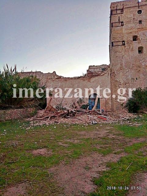 Ζημιές στο επιβλητικό καστρομονάστηρο του Αγίου Διονυσίου μετά το σεισμό στη Ζάκυνθο