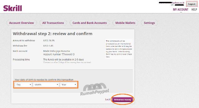 cara withdraw tarik uang dari skrill ke rekening bank 3