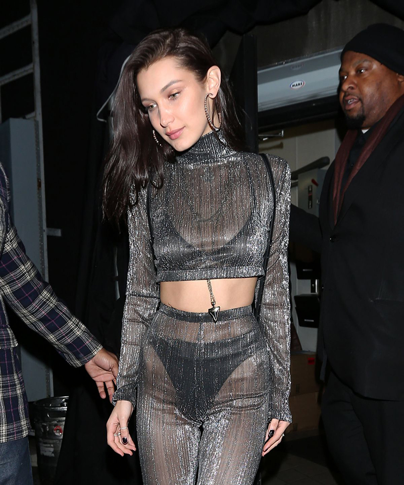 Bella Hadid at Nice Guy in West Hollywood december 31, 2016 for New Year's Eve