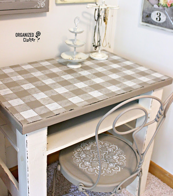 Rustic Desktop Upcycle with Buffalo Check Stencil organizedclutter.net
