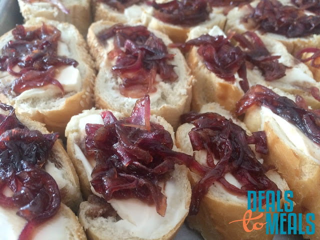 appetizers, Recipe:  Appetizers, game day recipes, super bowl food, Recipe:  Snack, Deals to Meals, Balsamic Onion Jam on Baguettes with Cream Cheese
