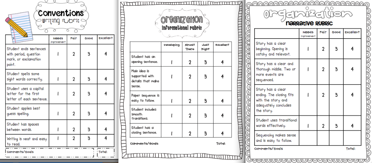 Sarah's First Grade Snippets: Writing Rubrics for the