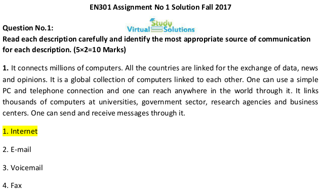 ENG301 Assignment No 1 Solution Sample Preview Fall 2017