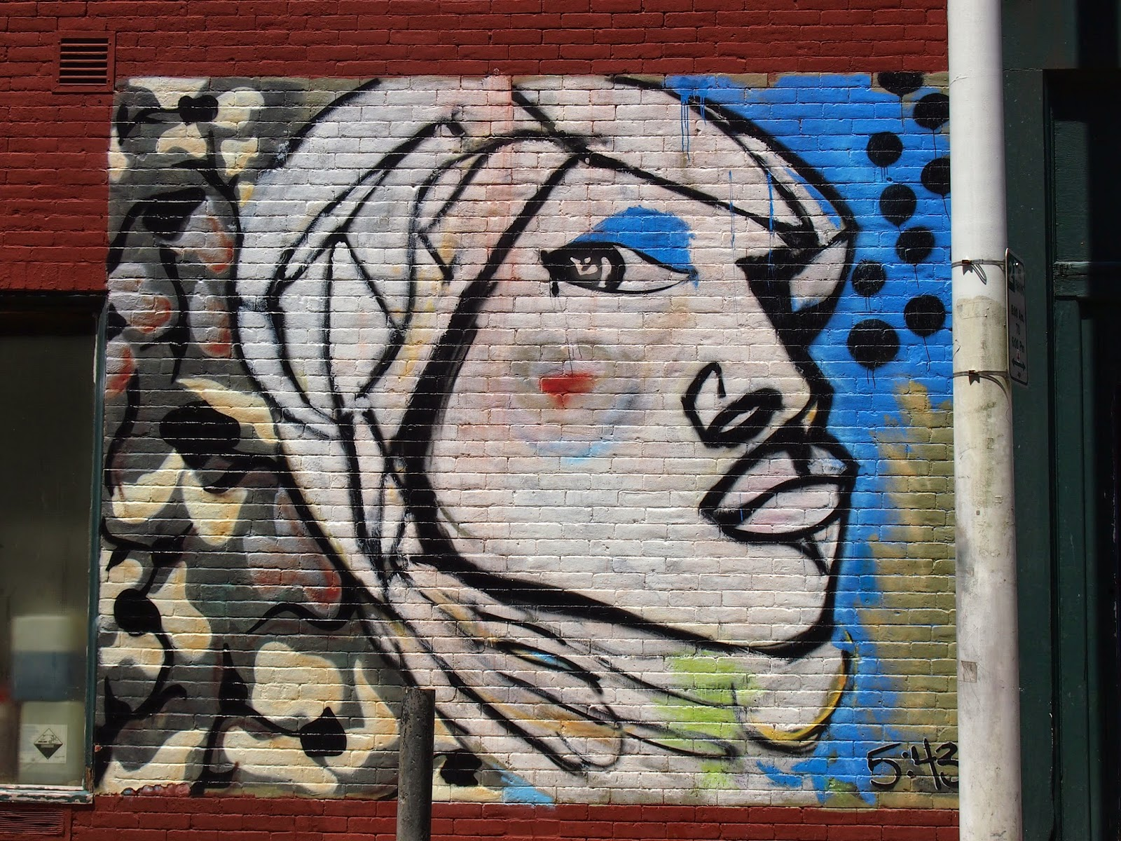 a painting on brick of a woman's face