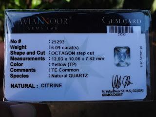 citrine quartz certificate