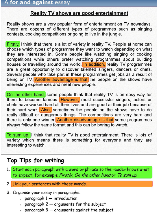 Writing and opinion essay