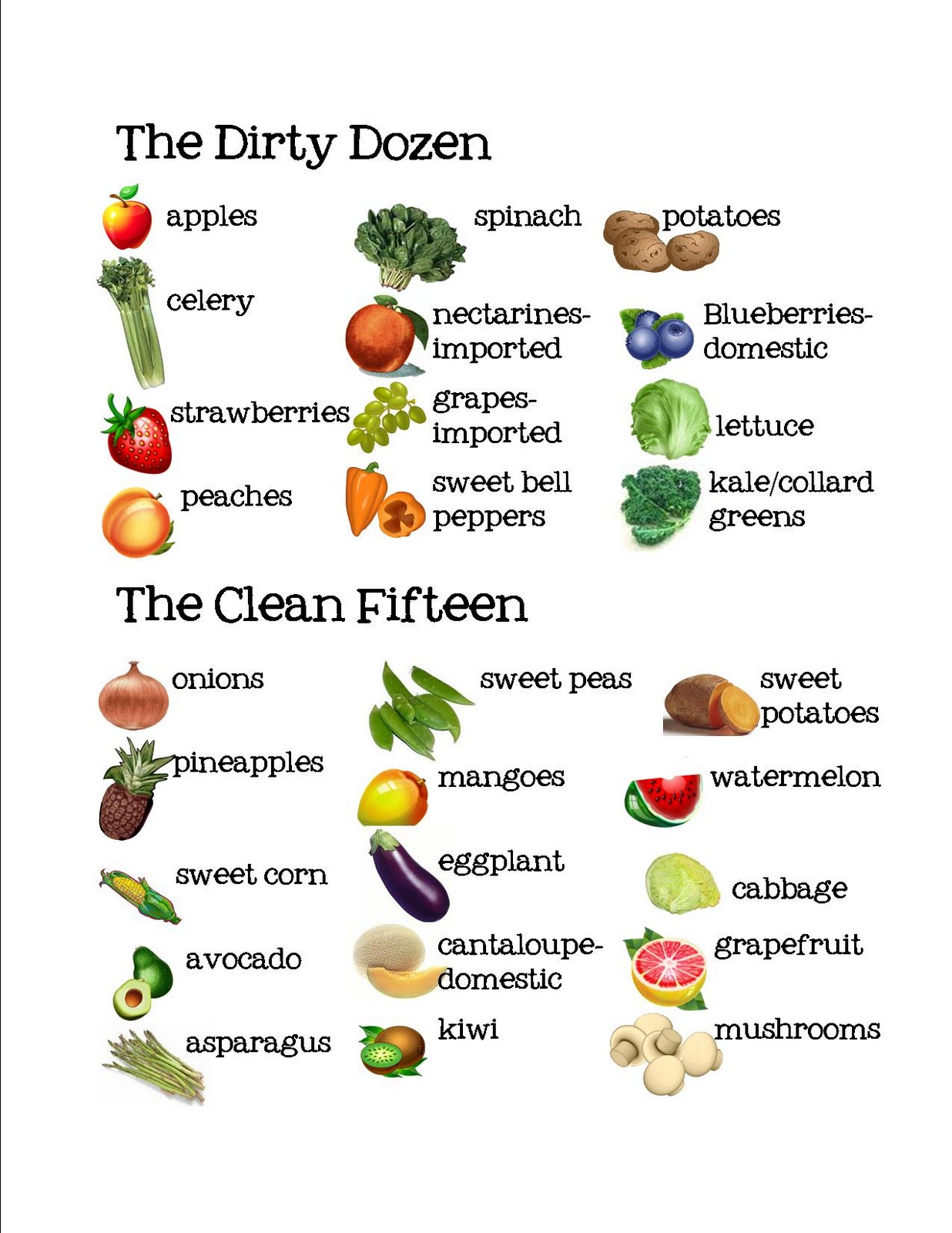 12 Vegetables To Plant In August Zone 9: Fru-Gal.org: Introducing The Dirty Dozen And Clean Fifteen