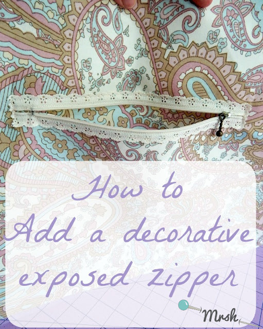 How to add a decorative exposed zipper