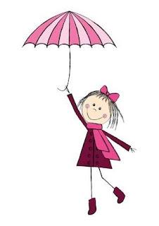 dibujo de niña volando con un paraguas