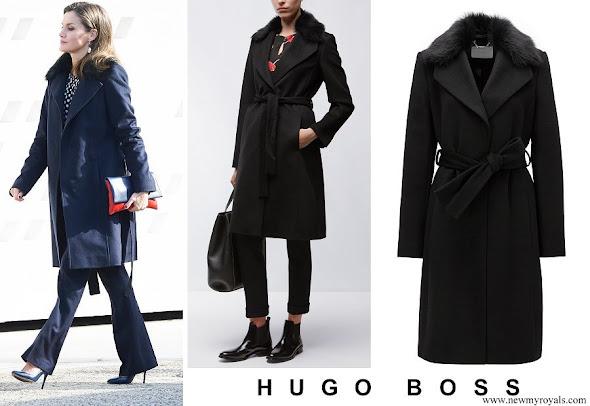 Queen Letizia wore Hugo Boss wool coat with fur collar