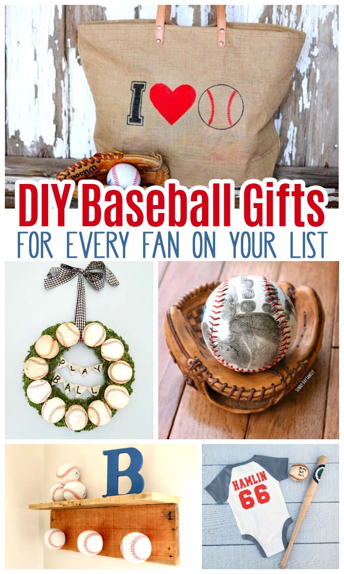 DIY baseball gifts every fan will love! Find baseball crafts, baseball home decor, handmade gift ideas, Father's Day gifts, new baby gifts, homemade gift ideas, and more for baseball fans. Baseball themed ideas for the home, baseball jewelry, baseball apparel and baseball keepsakes. #baseball #giftideas #handmade #home #DIY