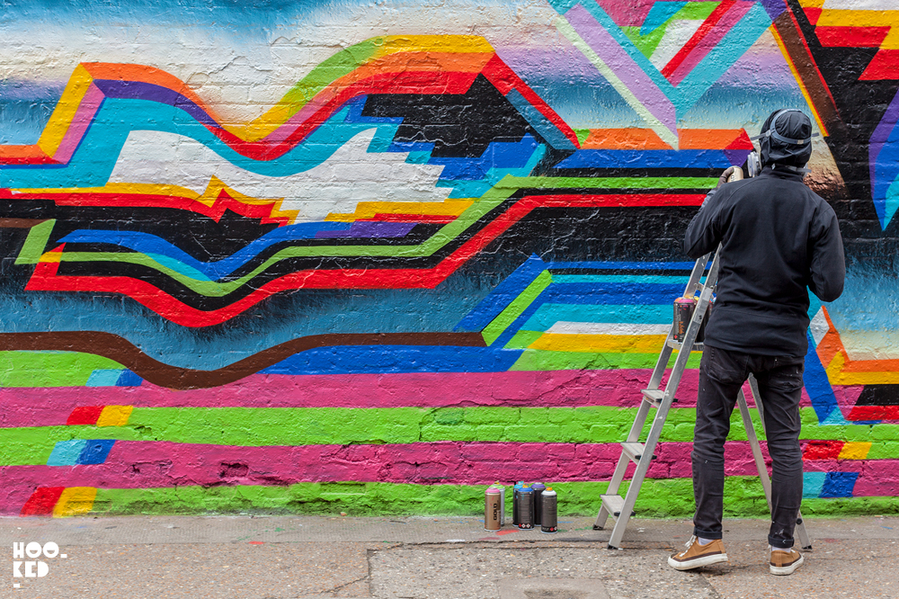 Felipe Pantone Paints A Mural in Shoreditch, London