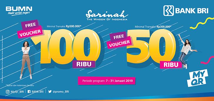 #BankBRI - Promo Voucher 50K & 100K Min Transaksi 300K di #Sarinah (s.d 31 Jan 2019)