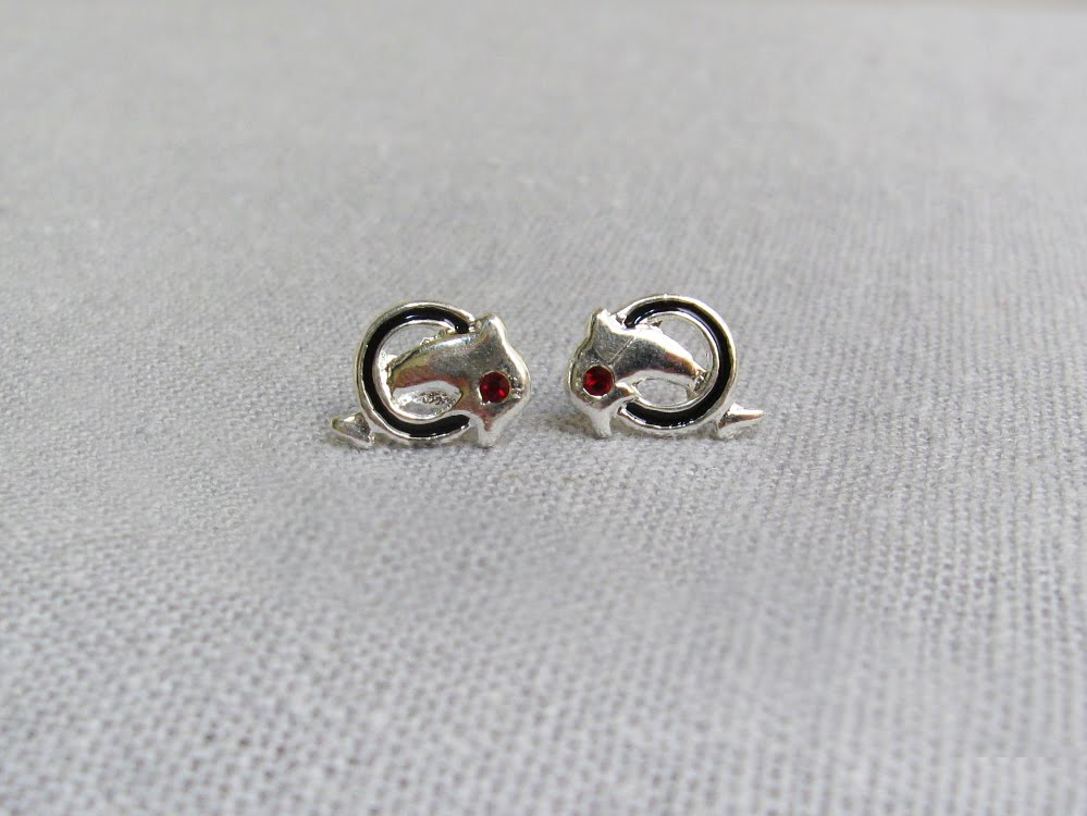 Silver dolphin stud earrings